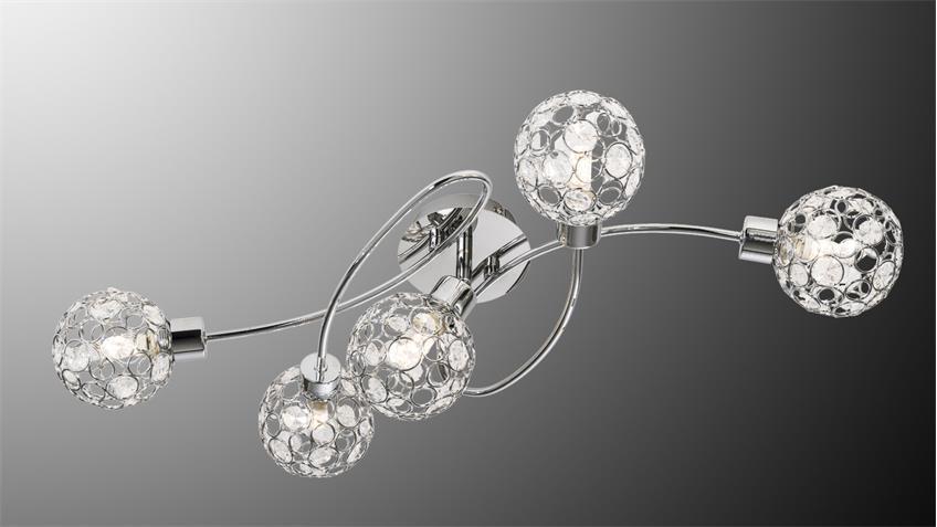 led deckenleuchte larga chrom metall acryl deko 5 flg mit leuchtmittel. Black Bedroom Furniture Sets. Home Design Ideas