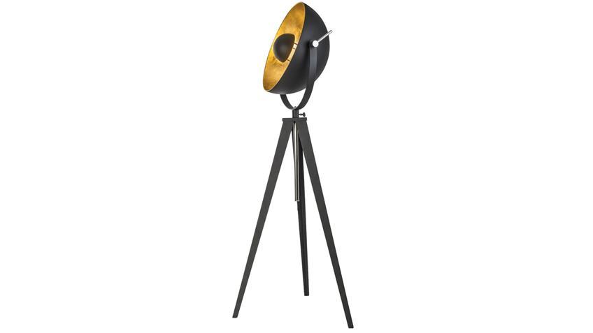 Stehleuchte BOWY Studiolampe schwarz und goldfarben