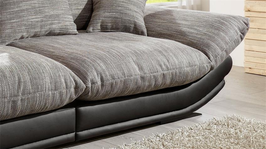 Megasofa ROSE in schwarz und Webstoff braun weiß 300 cm