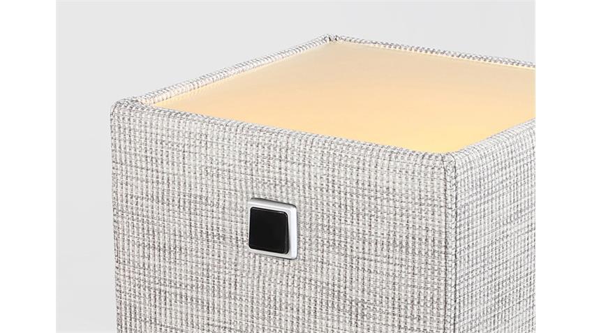 Nachtkommode LIGHTNESS Strukturstoff Grau inkl. Beleuchtung