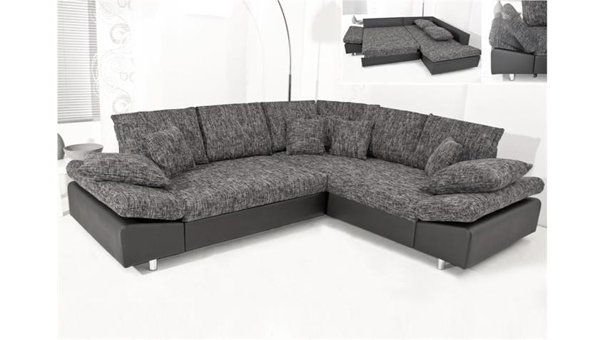 Ecksofa PANDORA Schwarz/Weiß Bettfunktion