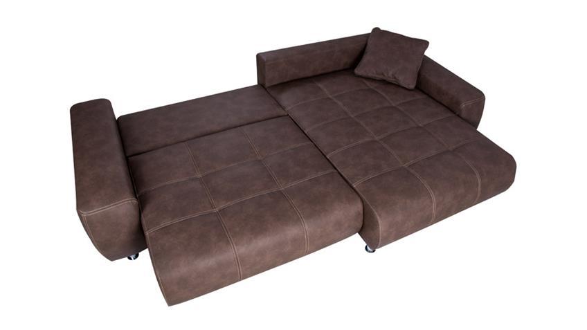 Ecksofa BRIATORE mit Bettfunktion und Bettkasten dunkelbraun