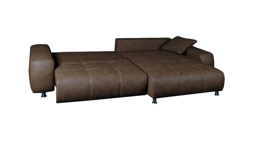 Ecksofa BRIATORE mit Bettfunktion und Bettkasten Sahara braun