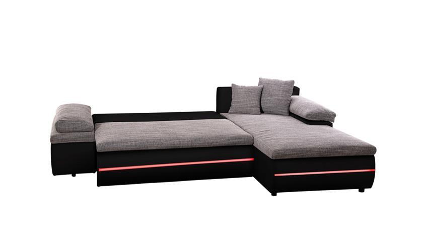 Ecksofa BOWIE grau schwarz inkl. RGB und Bettfunktion
