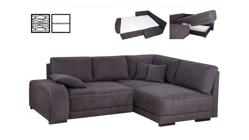ecksofa gordon anthrazit naht wei mit boxspring 255x202. Black Bedroom Furniture Sets. Home Design Ideas