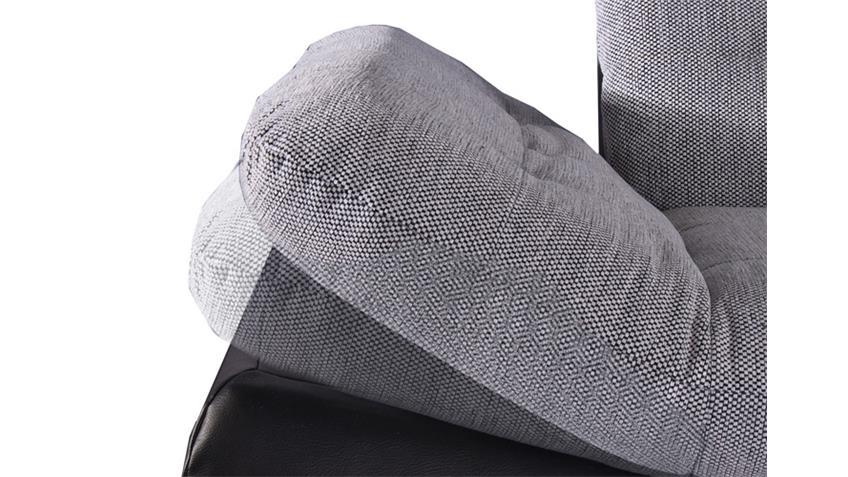Ecksofa MILAN schwarz und grau weiß rechts 271x222 cm