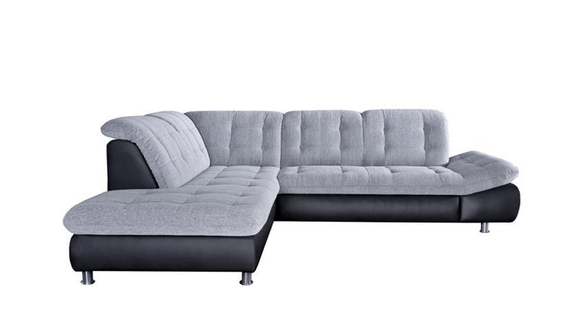 Ecksofa MILAN schwarz und grau weiß links 271x222 cm