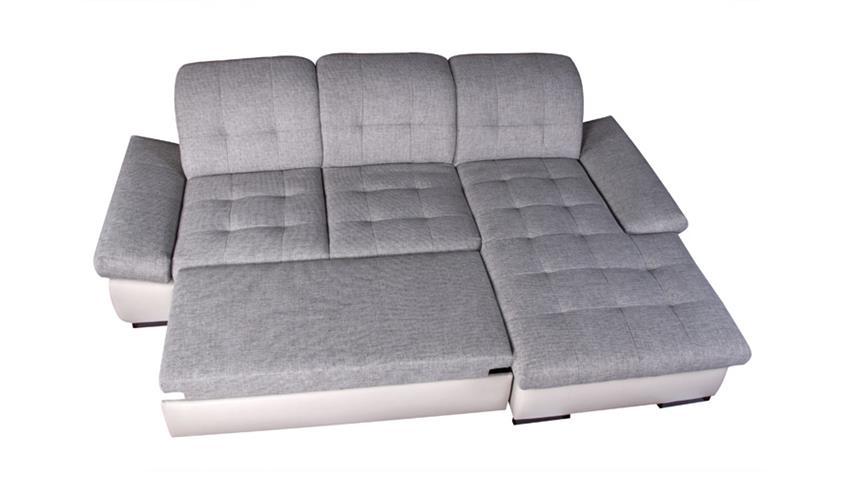 Ecksofa ANNA weiß silber Recamiere rechts 286x186 cm