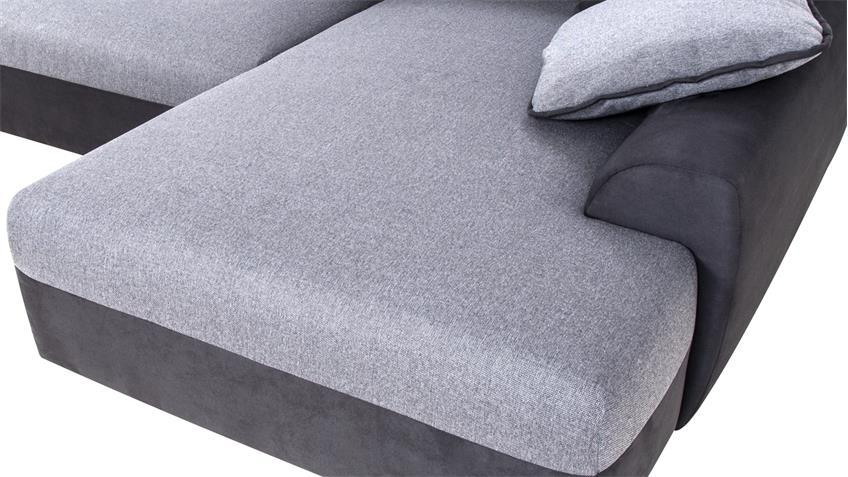 Wohnlandschaft HASTINGS schwarz und grau mit Bettfunktion
