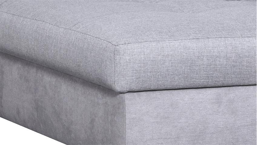 Ecksofa AROA in Stoff grau inkl. Nosagfederung 249x188 cm