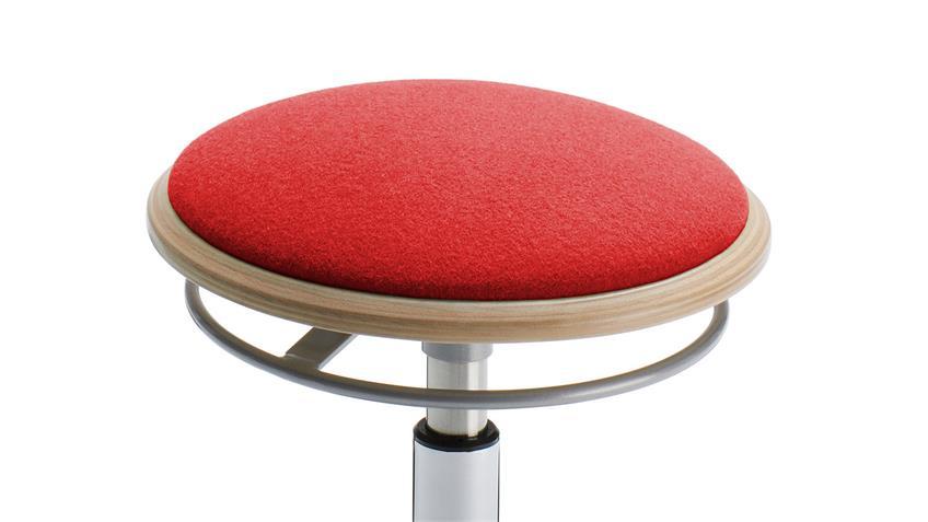 Hocker BELISE Bezug Stoff rot Fußteller schwarz inkl. Höhenverstellung