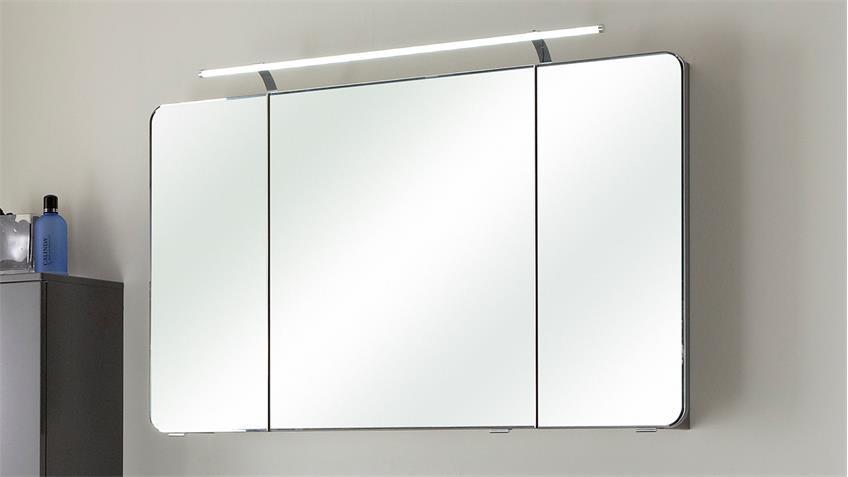 Pelipal spiegelschrank fokus grau hochglanz lack inkl led for Spiegelschrank grau