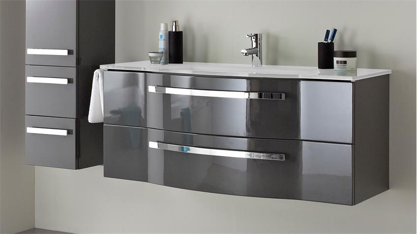 Pelipal badezimmer fokus in grau hochglanz lack inkl led und becken - Badezimmer becken ...