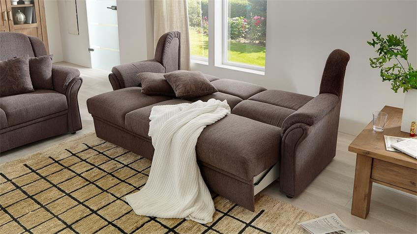 Sofa 3-Sitzer InFEELING Nougat braun mit Bettfunktion