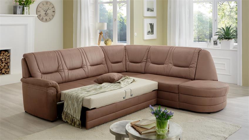 Ecksofa QUEENLINE Sofa braun mit Bettfunktion und Kissen