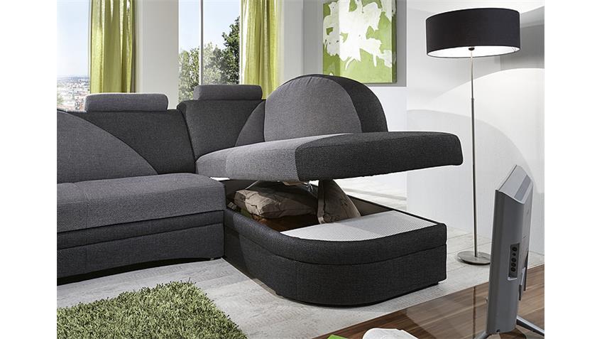 Ecksofa HELSINKI Wohnlandschaft Sofa anthrazit hellgrau