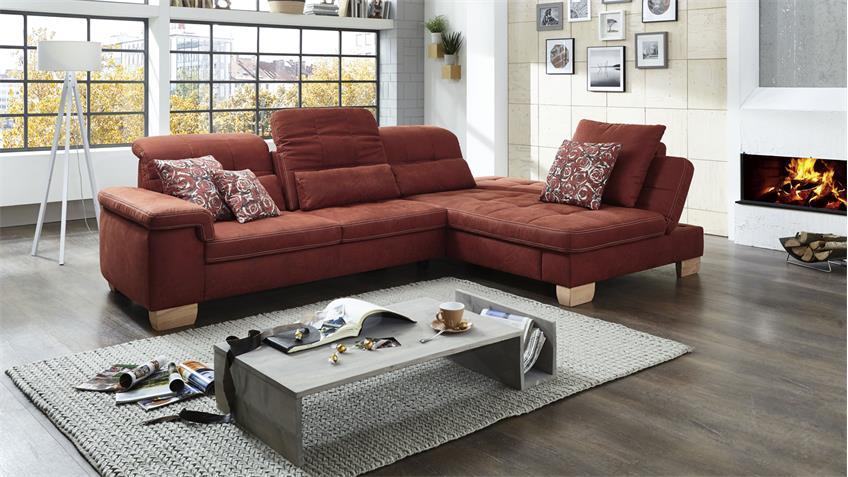 ecksofa sunny bezug in stoff rubin rot braun mit. Black Bedroom Furniture Sets. Home Design Ideas