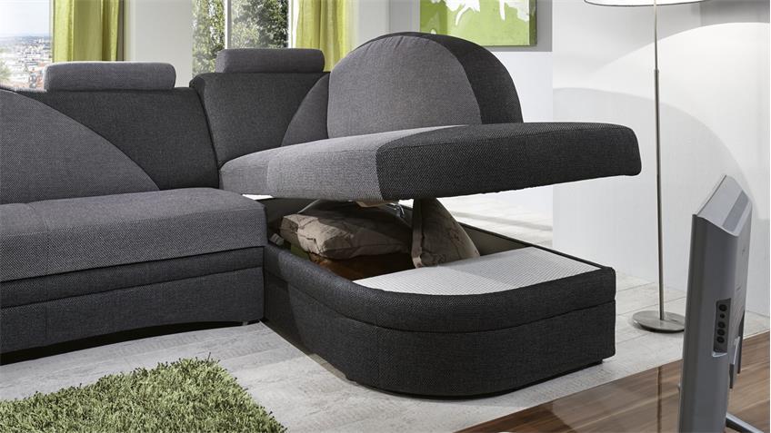 ecksofa helsinki in anthrazit grau inkl schlaffunktion und bettkasten. Black Bedroom Furniture Sets. Home Design Ideas