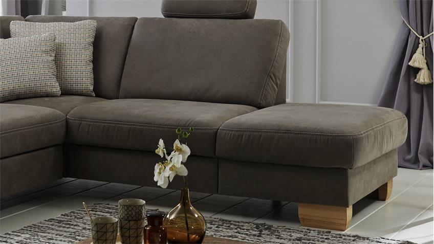 ecksofa ferres bezug stoff smoke grau f e kernbuche mit nosagfederung. Black Bedroom Furniture Sets. Home Design Ideas