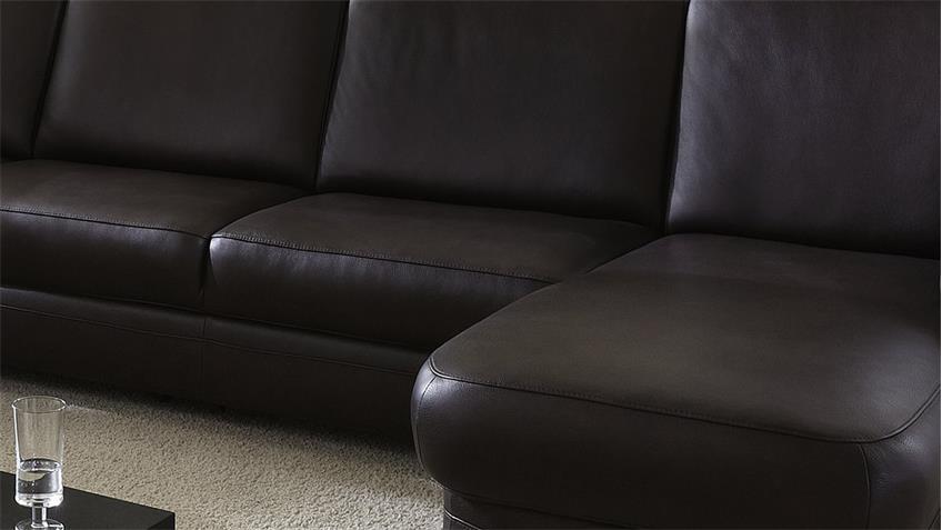 Ecksofa TOULOUSE Wohnlandschaft Sofa echtes Leder in braun