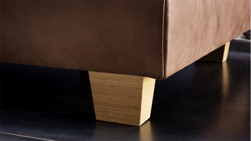 Ecksofa MARISSA Bezug in Leder braun Füße Holz natur mit Nosagfederung -> Ecksofa Leder Natur