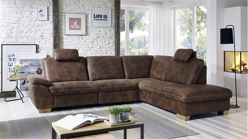 ecksofa paco l form bezug leder braun f e wildeiche mit nosagfederung. Black Bedroom Furniture Sets. Home Design Ideas
