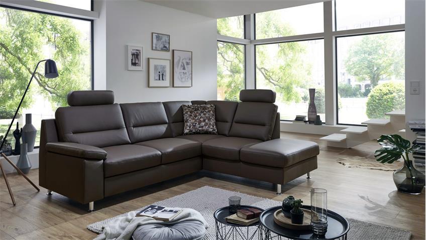 ecksofa compact l form bezug echtleder mocca kaltschaum nosagfederung. Black Bedroom Furniture Sets. Home Design Ideas
