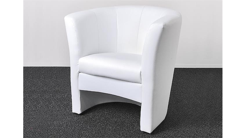 Cocktailsessel PELE Sessel in Weiß Lederlook Höhe 80 cm