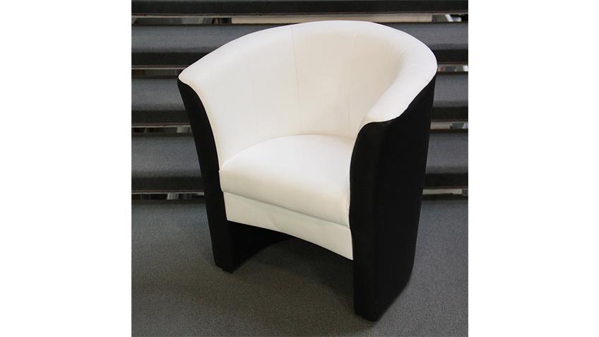 Cocktailsessel PELE Sessel in schwarz und Sitz in weiß