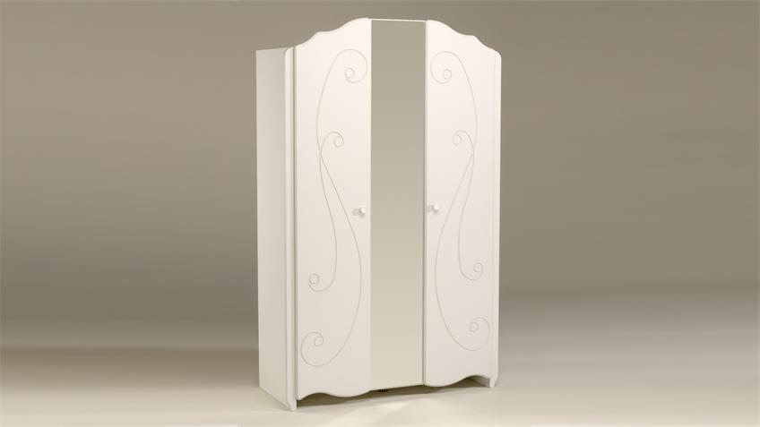 Kleiderschrank FRESH Schrank in weiß lackiert mit Spiegel