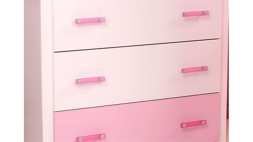 Kommode BEAUTY Sideboard in weiß und rosa 3 Schubkästen