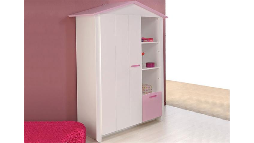 Kleiderschrank BEAUTY II Schrank in weiß Dekor und rosa