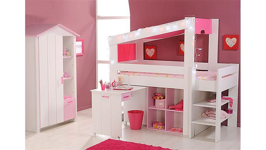 Hochbett BEAUTY Etagenbett in weiß Dekor und rosa