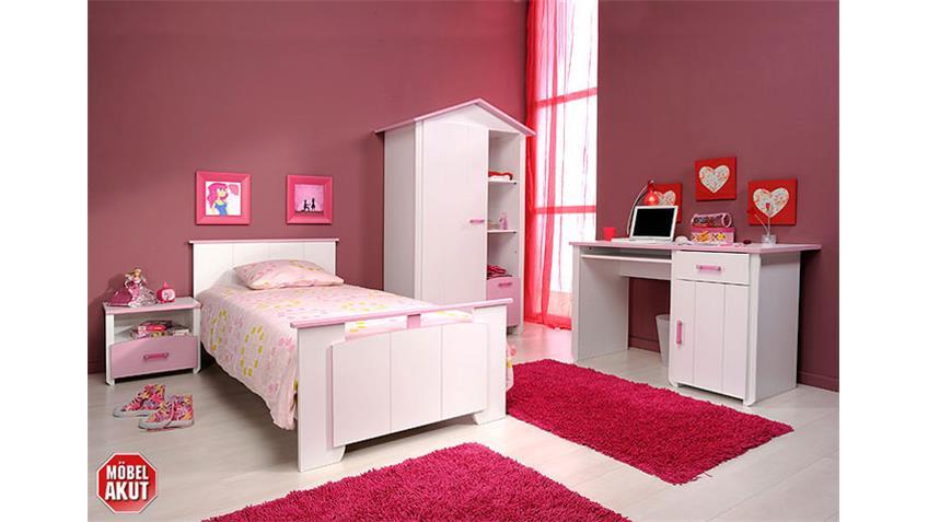 Schreibtisch BEAUTY PC Tisch weiß und rosa Dekor eintürig