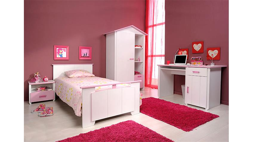 Kinderzimmerset BEAUTY VI Kinderzimmer in Weiß Rosa 4 tlg