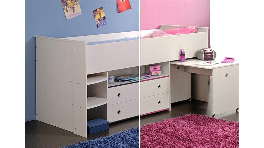 Hochbett SMOOZY 1 Kinderbett Kiefer weiß Kanten blau oder pink