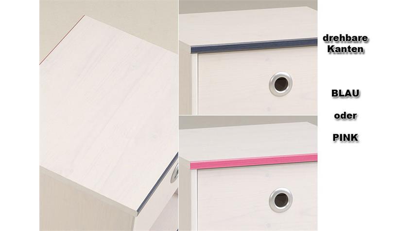 Kinderbett Smoozy 5 Bett 90x200 in Kiefer weiß drehbare Kanten blau oder pink
