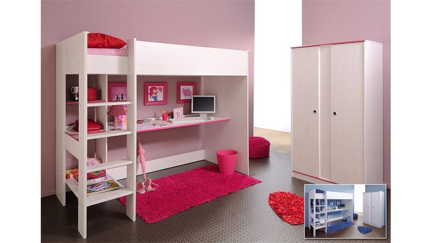 SMOOZY Etagenbett Kiefer Weiß/Blau/Pink - drehbare Kanten