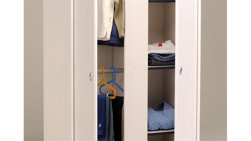Kleiderschrank SMOOZY 11 Kiefer weiß Kanten blau oder pink