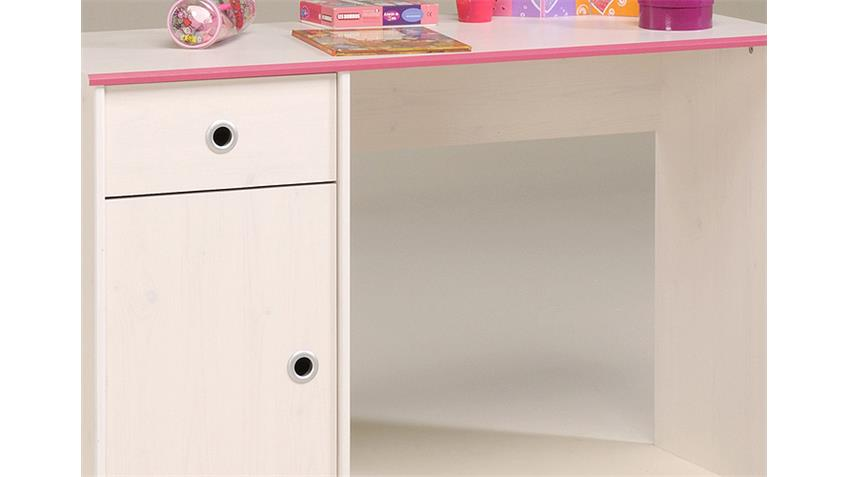 Schreibtisch SMOOZY 8 Computertisch in Kiefer weiß Kanten blau oder pink