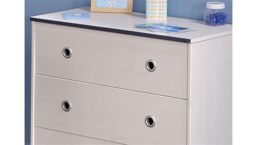 SMOOZY Sideboard Kiefer Weiß/Blau/Pink - drehbare Kanten