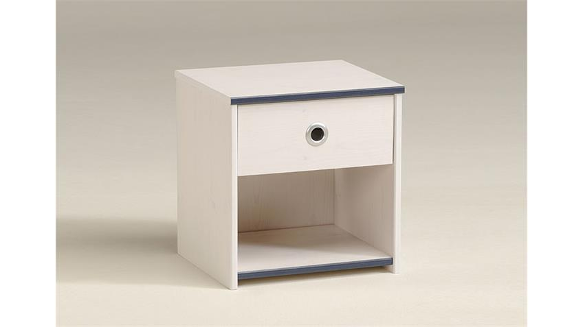 Nachtkommode SMOOZY 10 Nachttisch in Kiefer weiß Kanten blau oder pink