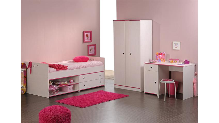 Kinderzimmer Set SMOOZY 7 in Kiefer weiß Kanten blau pink 3-teilig