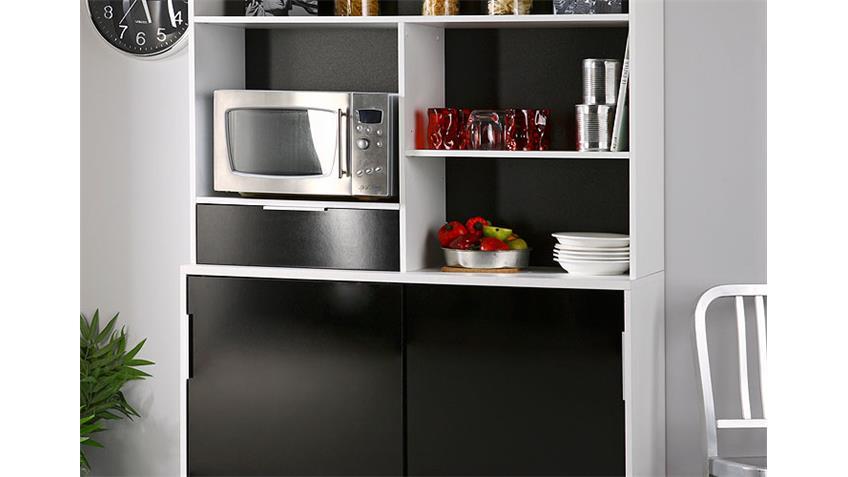 Buffet DEMONTE Küchenbuffet in schwarz hochglanz und weiß