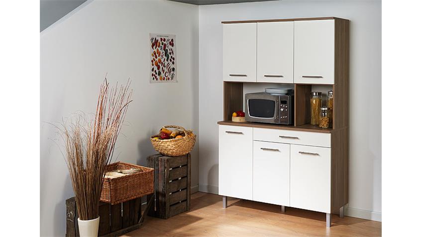 Buffet Panama Küchenbuffet Highboard weiß und Akazie hell