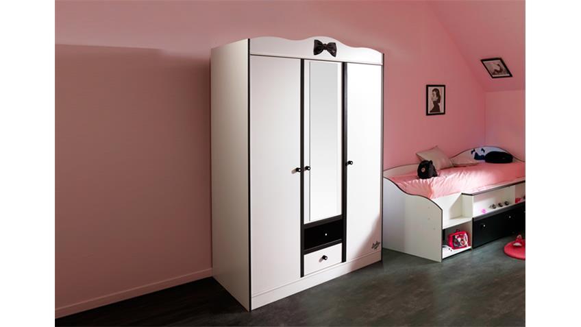LOVELY LIGHT Kleiderschrank Weiß/Schwarz - 132x189