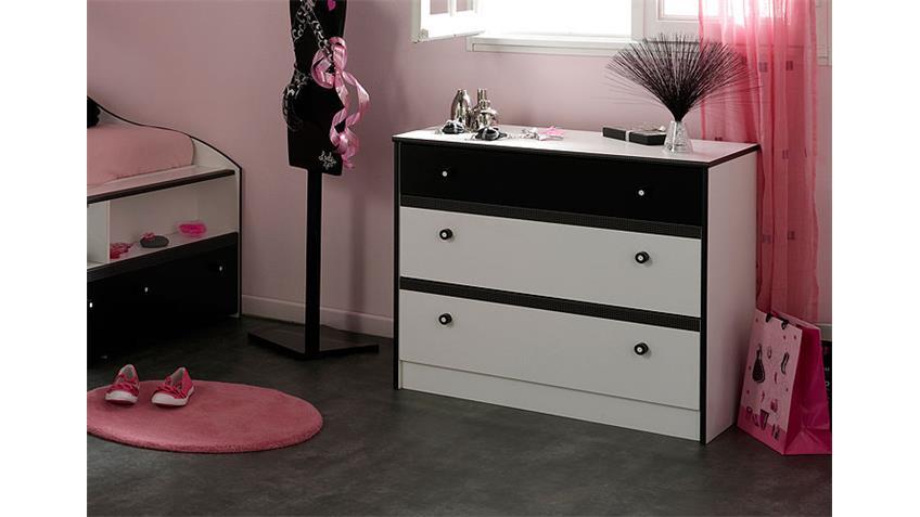 Kommode LOVELY LIGHT Sideboard in weiß und schwarz Dekor