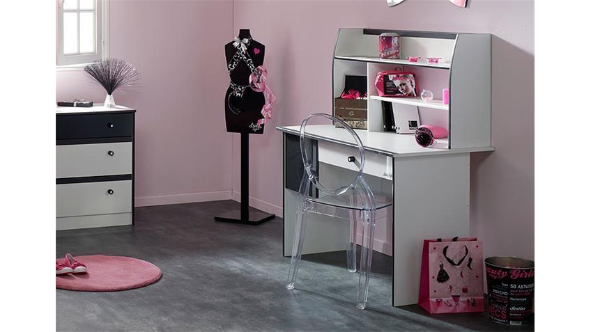 Schreibtisch LOVELY LIGHT Computertisch in weiß und schwarz