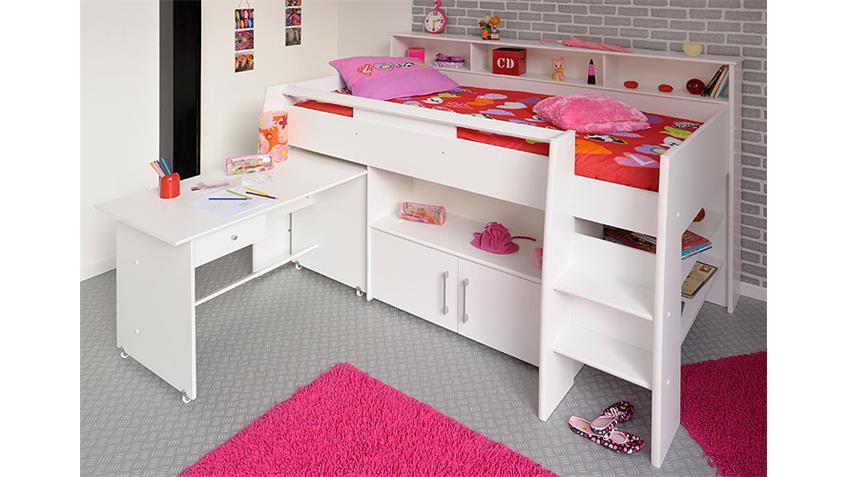 Hochbett SWAN mit Schreibtisch weiß 90x200 integrierte Kommode