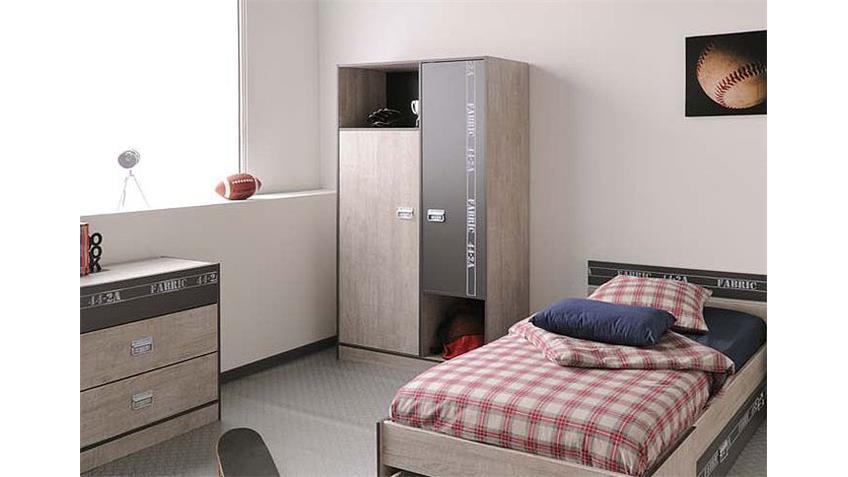 Kleiderschrank FABRIC Jugendzimmerschrank esche grau 101x182